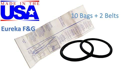 (Home Care 10 Eureka Sanitaire F&G Bags + 2 Round Belts Bundle Kit !! Made in USA !!)