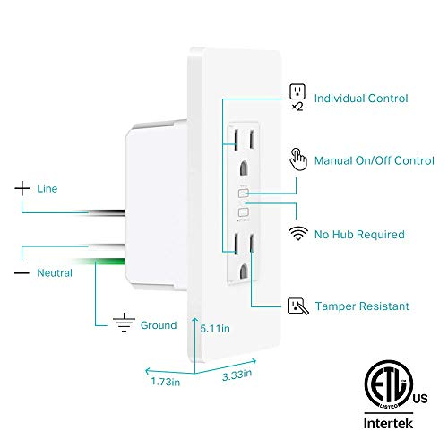 Kasa Smart WiFi Power Outlet, 2-Sockets by TP-Link – Smart Outlet, Compatible with Alexa and Google (KP200) by TP-LINK (Image #7)