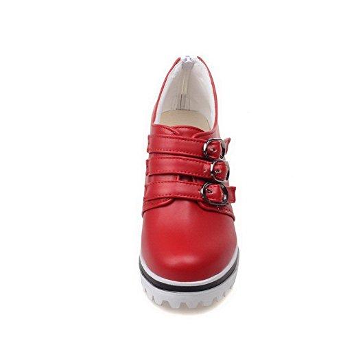 AllhqFashion Damen Hoher Absatz Rein Reißverschluss Weiches Material Rund Zehe Pumps Schuhe Rot