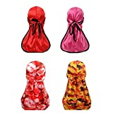 2 Pcs Camouflage and 2 Pcs Soild Satin Premium Silky Durags with Long Tail Colorful 360 Waves Cap Doo rag for Men Du-rag (3/4 Packed) (Set14)