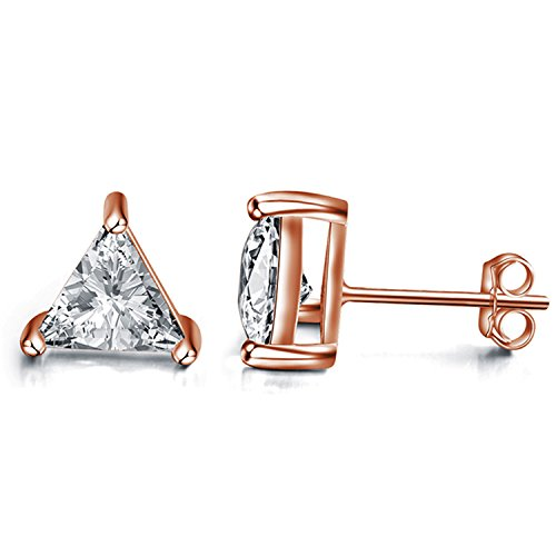 Emma Manor Gold Plated Sterling Silver 7mm Triangle Shape Cubic Zirconia Stud Earrings (Rose Gold Plated Silver) ()