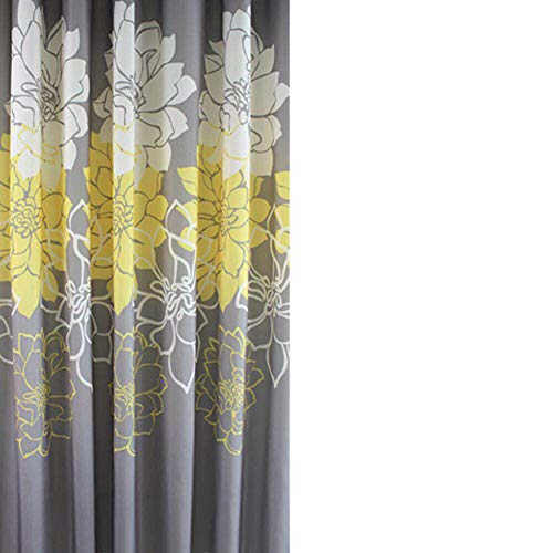Sfoothome Small Size 36 by 72 Inch Gray Background and Yellow Flowers Pattern,Mildew Proof and Waterproof Washable Printed Polyester Fabric Shower Curtain for Bathroom (Yellow 36Inch72Inch)