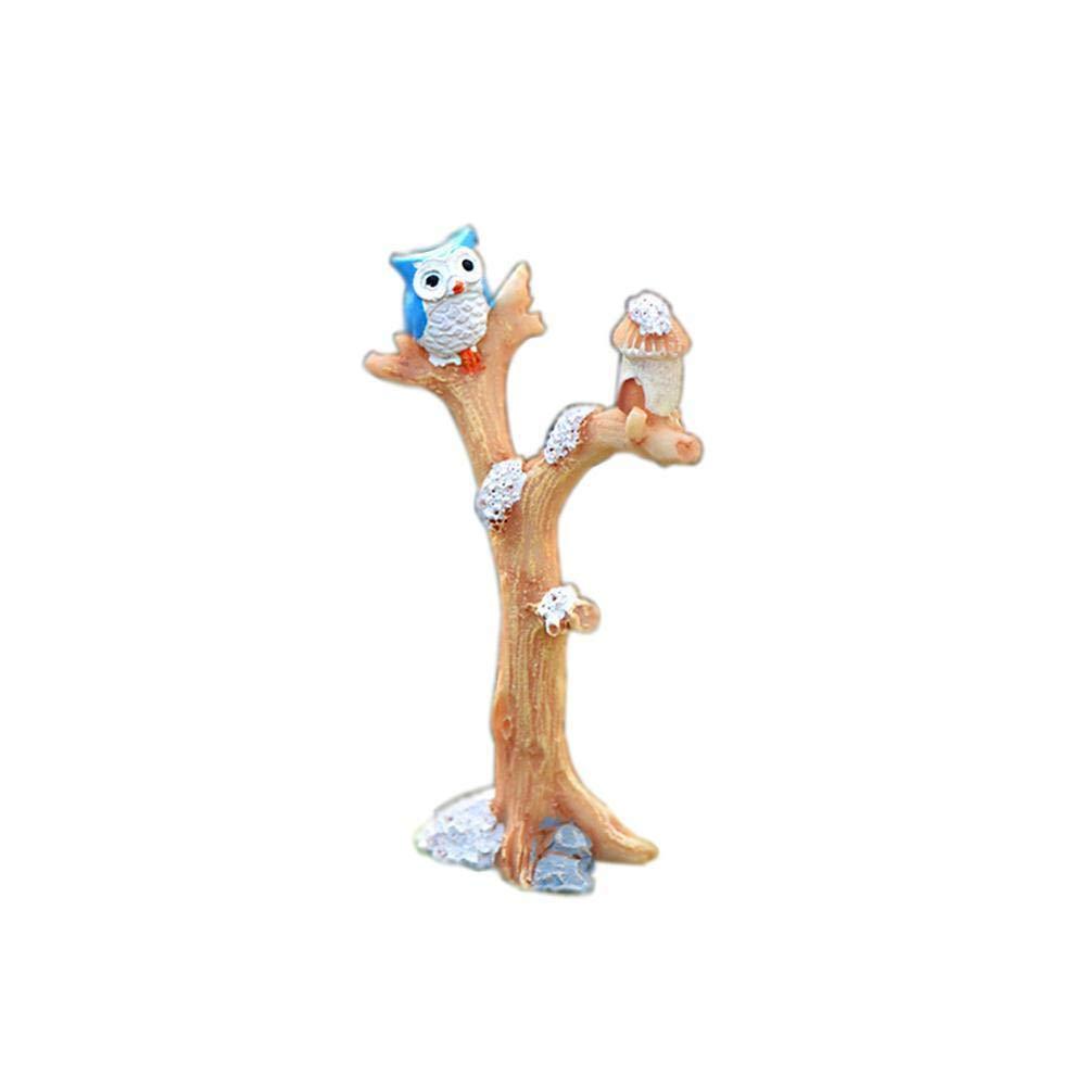 Blue Vesse Moss Micro-Landscape Ornamente Simulation Baum Gabel Owl DIY Montieren Multi-Fleisch Kleine Ornamente Micro-landscape Ornaments Multi-meat Small Ornaments for Garden (Grau)