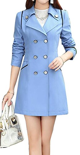 - Fensajomon Womens Lapel Long Sleeve Double-Breasted Classic Trench Coat Overcoat Light Blue XL