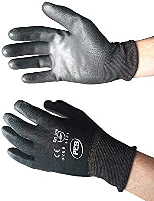 12 PAIRS OF NEW PU BLACK COATED WORK GLOVES PRECISION SIZE 9//LARGE GARDENNING By YBS BRAND
