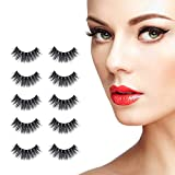 5 Pairs Fake Eyelashes Reusable 3D Handmade Real Mink False Lashes Set Natural