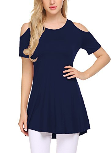 BLUETIME Womens Casual Hollow Out Short Sleeve Swing Top T-Shirt Tunics for Leggings (Navy Blue-2, XL) (Leggings T-shirt)