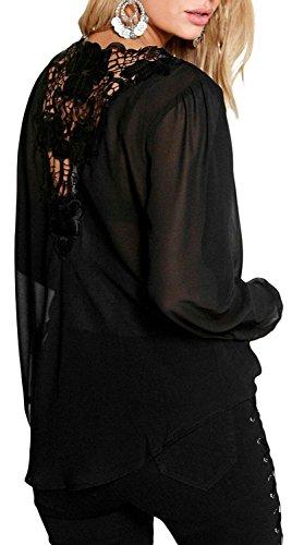 IF FEEL Womens Stylish Crochet Back Wrap Front Blouse Top ((US 18-20)XXL, black)
