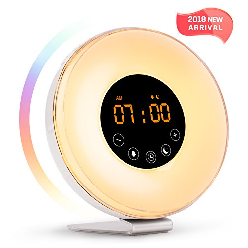 Wake Up Light Alarm Clock With Sunrise Sunset Simulation 2018 New Arrival  Include 6 Natural Sounds Fm Clock Radio 10 Brightness Levels 7 Colors Night Light Snooze Function