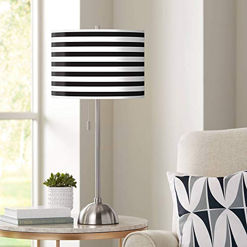 Giclee Black and White Horizontal Stripe Table Lamp - Giclee Glow