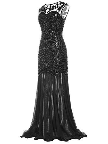Piso 1920s Adornos La V del de con FAIRY de Noche back Vestido COUPLE Negro D20S004 Lentejuelas Longitud wX7YEn5Iq