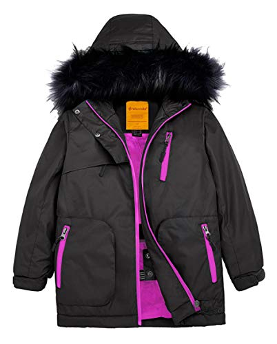 Wantdo Girls Waterproof Ski Jacket Raincoats Windproof Warm Winter Coat Black 8