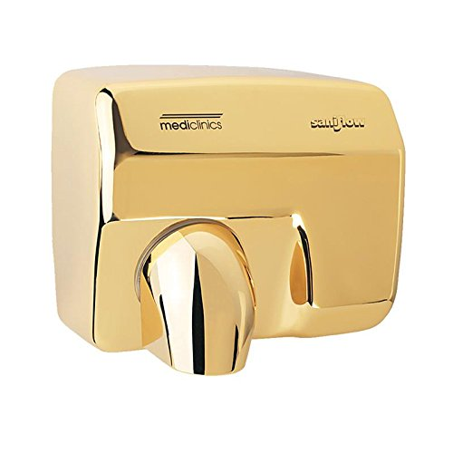 Saniflow E88AO Automatic Hand Dryer, Steel One-piece Cover with Bright Golden Chrome Plated Steel 5/64