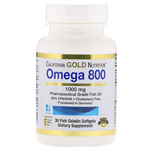 Madre Labs Omega 800 Pharmaceutical Grade Fish Oil 80 EPA DHA Triglyceride Form German Processed Cholesterol Free 1000 mg 30 Fish Gelatin Softgels