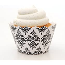 Traditional Print Damask Cupcake Wrapper - Set of 12 - Victorian Design Cupcake Wrapper (Black)