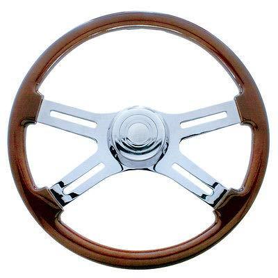 United Pacific 18 Chrome Four Spoke Steering Wheel - Fits Peterbilt 1998+/Kenworth 2001+