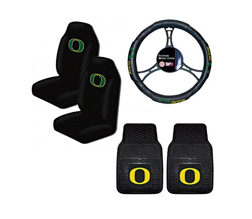 A set of 5 Piece Automotive Gift Set: 2 Front All Weather Floormats, 2 Highback Seat Covers, and 1 Wheel Cover - University of Oregon Ducks -