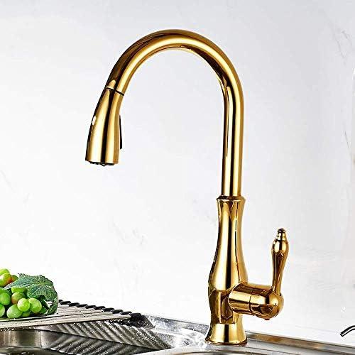 WXQ-XQ 実用的な美しいゴールドキッチンシンク銅Pull型回転式の蛇口温水と冷水空調現代のクリエイティブ単穴の蛇口
