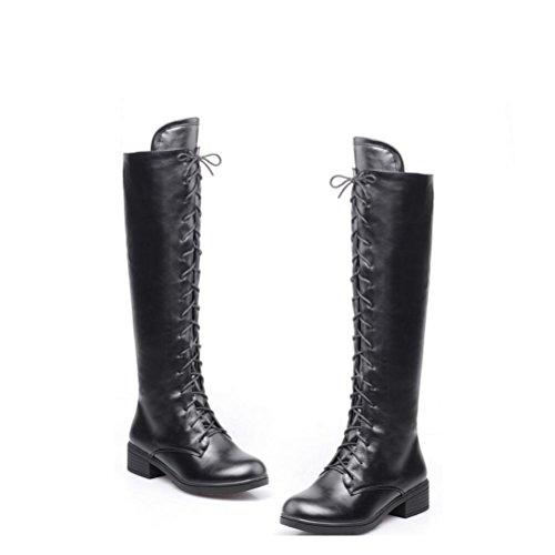 Ei&iLI Bottes pour dames chaudes PU ronde Toe talons lacets bottes d'hiver court , black , 43