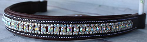 Equestrian Horse English Dressage Bridle BROWBAND Full Brown White Bling (Leather Browband Bridle)