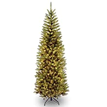 National Tree 7 Foot Kingswood Fir Pencil Tree with 300 Clear Lights, Hinged (KW7-300-70)