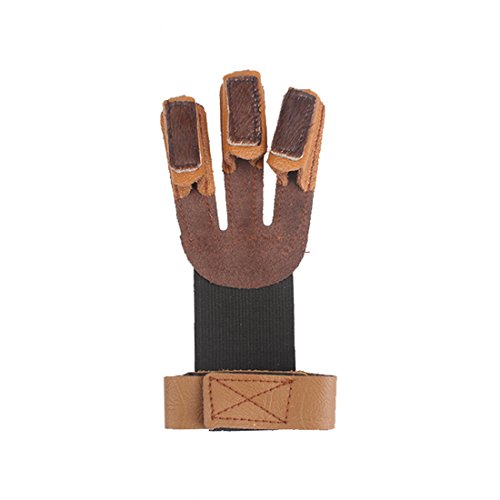 Krayney Adult Youth Archery Leather Gloves Finger Protector Shooting Hunting Arrow Bow Archery Protective Gear Accessories (Brown-Youth Size)