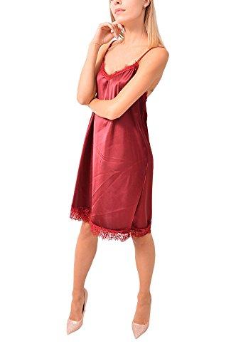 VILLAGGIOWEAR Made in Italy Vestito Bordeau Raso Pizzo Sottoveste Abbigliamento Moda Donna
