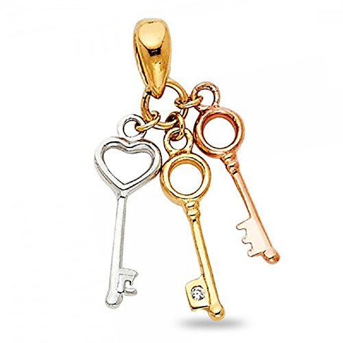 Solid 14k Yellow White Rose Gold Three Keys Pendant Fancy Charm Genuine Polished Tri Color 20 x 10 mm (Charm Key Gold 14k Yellow)