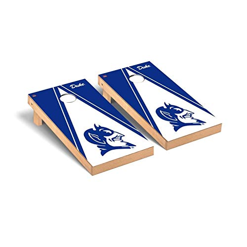 Victory Tailgate Regulation Collegiate NCAA Triangle Series Cornhole Board Set - 2 Boards, 8 Bags - Duke Blue Devils