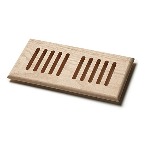 Naiture 2'' x 12'' Solid Block Wood Floor Register, Vent Cover Grille, Wood Louvered or Drop-in Style, Unfinished Red Oak by SH