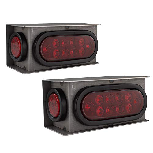 Backup Light Housing - ToughGrade TG-33 2 New Trailer Truck Steel Housing Box with Oval Tail Light & Round Light LED