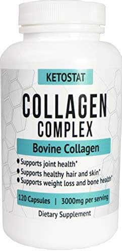 KetoStat® 120ct 3,000mg Collagen Peptide Pills   Type I and III Hydrolyzed Collagen Capsules of High Quality Collagen for Joint and Bone Health, Healthier Hair & Skin, and Weight Loss Support.