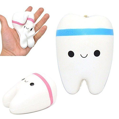 2pcs Cute Cartoon Tooth Pendant Squishy Toys Slow Rebound Stress Reliever Toys Slow Rising Jumbo Cute