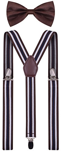 BODY STRENTH Mens Kids Bow Tie and Suspenders Adjustable Brown Stripe 26 Inches ()