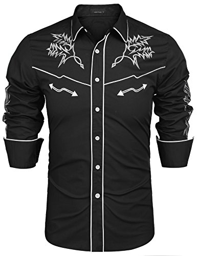JINIDU Men's Long Sleeve Embroidered Shirt Casual Slim Fit Button Down Western Shirts Black