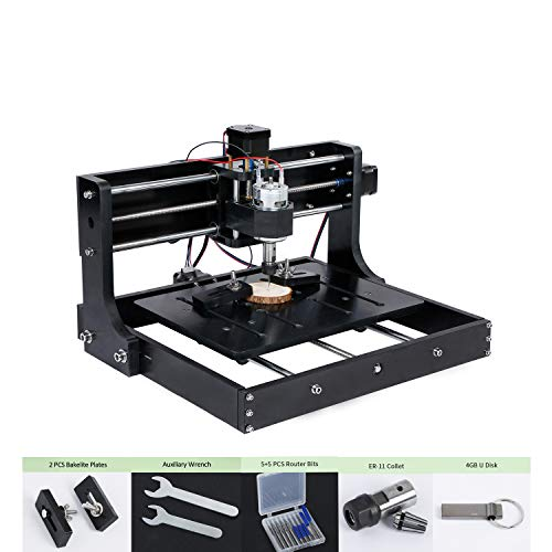 L&Z CNC Router Engraver-3020 Wood Milling Machine, Mac OS/Windows Supported, 3 Axis XYZ Carve, Upgraded Bakelite, with USB Flash Drive