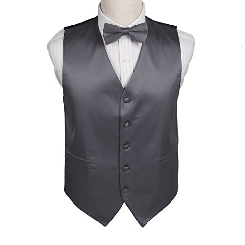 DGEE0003-XL Dark Grey Plain Microfiber England Waistcoat Satin Absolutely In Bulking Vest Matching Bow Tie By Dan - In England Names Of Shops