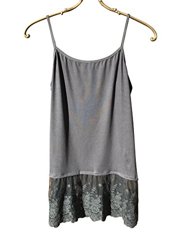 Colorado Chick Flower Lace Top Extender, Lace Shirt Extender, Camisole (XXL, Charcoal lace)
