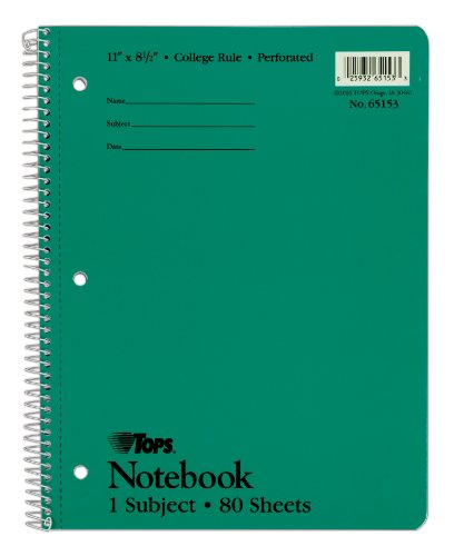 TOPS 1-Subject Wirebound Notebook, College Rule, 8.5 x 11 Inches, White, 80 Sheets per Book, Cover Color May Vary (65153)