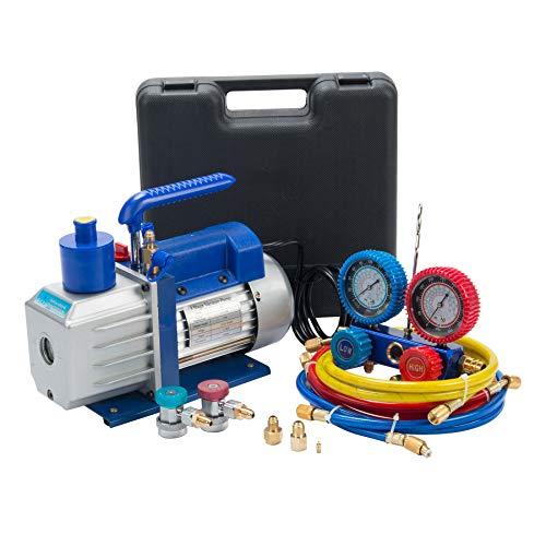 4.8CFM Vacuum Pump & Manifold Gauge Set | A/C HVAC Refrigeration Kit | Evacuation & Recharging | Diagnostic R134a R22 R410a