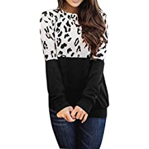 Acilnxm Womens Long Sleeves Leopard Print Blouses Casual Round Neck Tops Sweatshirts