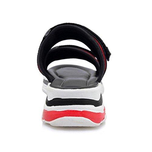 Open TAOFFEN Summer Women Back Fashion Red Sandals vIU0Fp