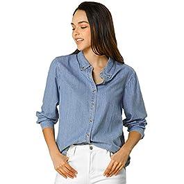 Women's Classic Long Sleeve Loose Button Down Denim Shirt