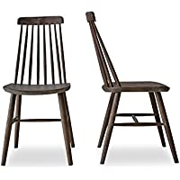 CLEO - Modern Farmhouse Dining Chairs - Spindle Back Solid Oak Wood Windsor Chairs - Set of 2