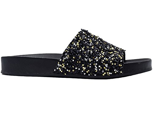 Max Muxun Womens Flat Glitter Beaded Slider Mules Flip Flops Slipper Sandals Black Ri7T6zji2