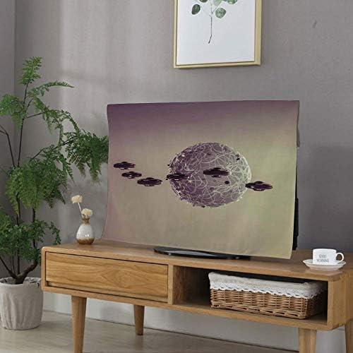 テレビカバー 防塵カバー 32インチのテレビに適用 液晶テレビカバー カバー ディスプレイ 銀河 UFO攻撃デススター幻想的な架空の宇宙戦争パターン ブラウングレーの下で小さな惑星