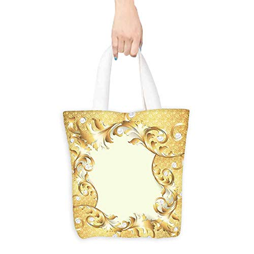 A-frame Style Handbag - Washable Grocery Tote with Pouch,Pearls Illustration of a Frame with Ornaments and Pearls Baroque Style Floral Patterns,Canvas Grocery Shopping Bags,16.5