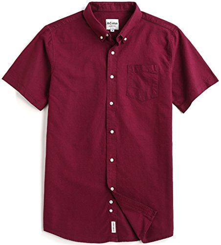 MiCotton Men's Solid Color Oxford Short Sleeve Button Down Casual Shirt,Wine Red,Small