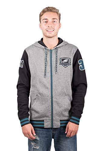Icer Brands NFL Philadelphia Eagles Men's Full Zip Fleece Hoodie Letterman Varsity Jacket, X-Large, Black -