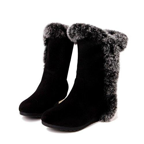 AgooLar Damen Mittler Absatz Rein Rund Zehe Ziehen auf Stiefel Schwarz
